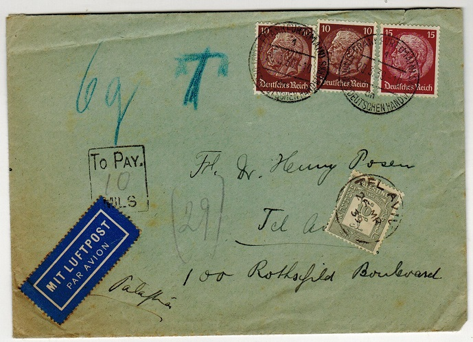 PALESTINE - 1935 inward under paid POSTAGE DUE cover.
