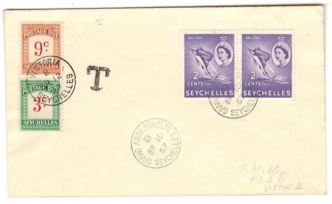 SEYCHELLES - 1957 local under paid POSTAGE DUE cover.