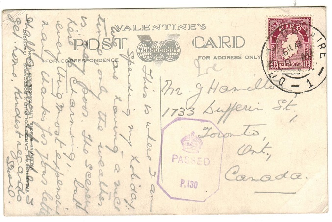 IRELAND - 1943 1 1/2d rate censored postcard to Canada used at DUNLAOGHAIRE.