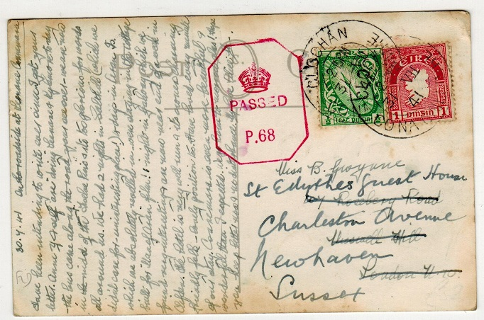 IRELAND - 1941 1 1/2d rate censored postcard to UK used at CO.OCHAN/DONEGAL.