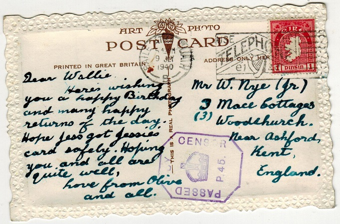 IRELAND - 1940 1d rate censored postcard to UK.