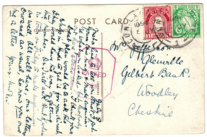 IRELAND - 1941 1 1/2d rate censored postcard to UK used at DUN LAOGHAIRE.