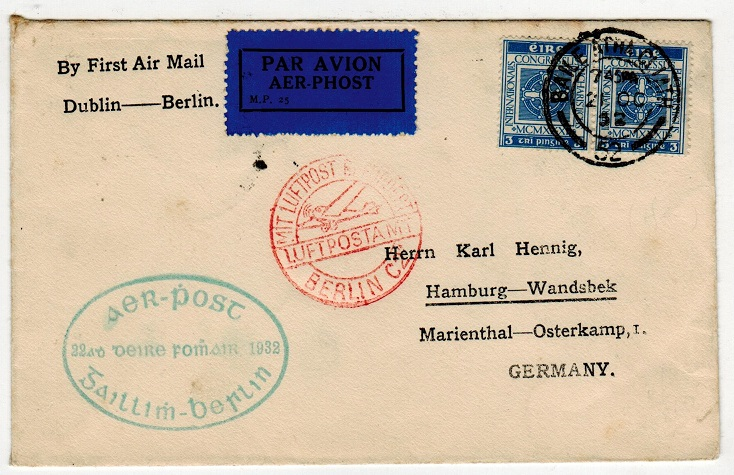 IRELAND - 1932 first flight cover to Germany.