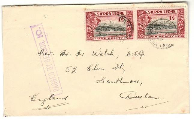 SIERRA LEONE - 1939 2d rate PASSED BY CENSOR/10 cover to South Africa used at PUJEHUN.