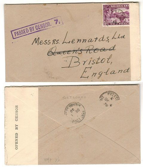 SIERRA LEONE - 1939 2d rate PASSED BY CENSOR/7 cover to UK used at LUNSAR.