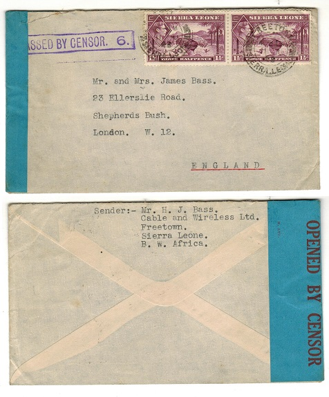 SIERRA LEONE - 1943 3d rate PASSED BY CENSOR/6  cover to UK.