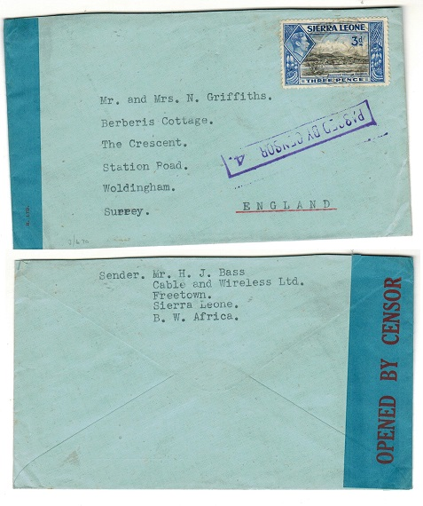 SIERRA LEONE - 1942 3d rate PASSED BY CENSOR/4 cover to UK.