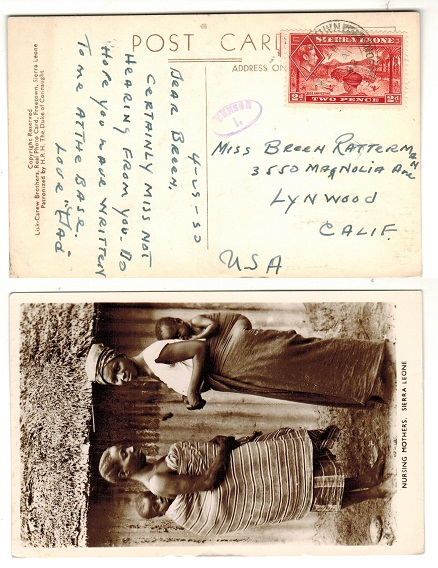 SIERRA LEONE - 1942 2d rate postcard use to USA with oval CENSOR/1 h/s applied.
