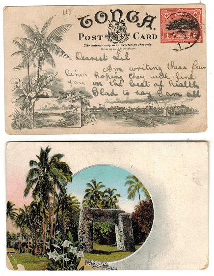 TONGA - 1906 1d illustrated postal stationery card.  H&G 1 (8).