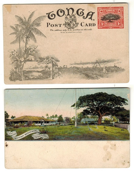 TONGA - 1906 1d illustrated postal stationery postcard.  H&G 1 (7).