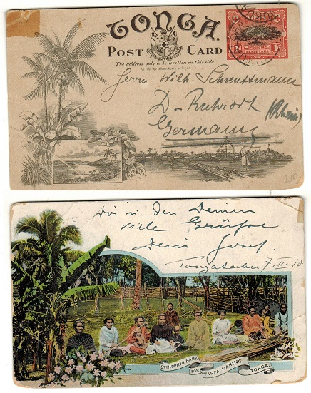 TONGA - 1906 1d illustrated postal stationery postcard.  H&G 1 (6).
