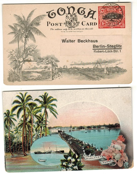 TONGA - 1906 1d illustrated postal stationery postcard.  H&G 1 (2).