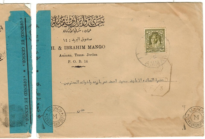 TRANSJORDAN - 1944 censor cover to Aden.