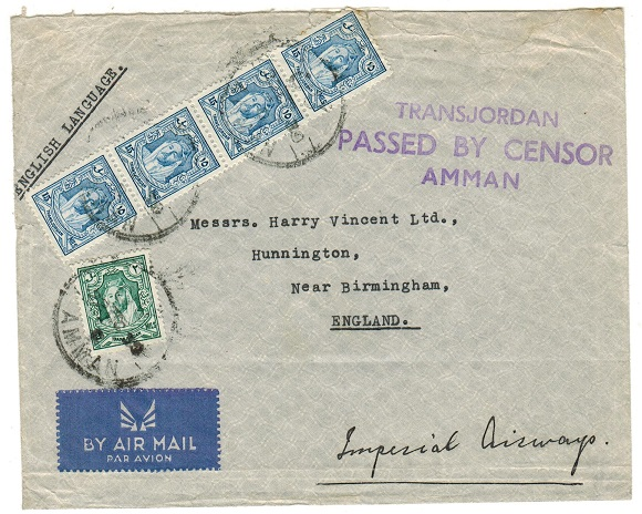 TRANSJORDAN - 1939 censor cover to UK.