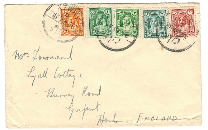 TRANSJORDAN - 1936 multi franked cover to UK used at AMMAN.