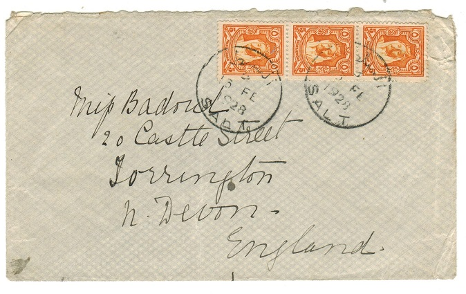 TRANSJORDAN - 1928 cover to UK used at SALT.