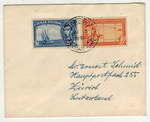 CAYMAN ISLANDS - 1952 cover to Switzerland used at STAKE BAY.