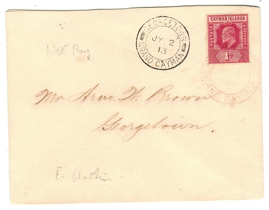 CAYMAN ISLANDS - 1913 1d rate local cover used at WEST BAY.