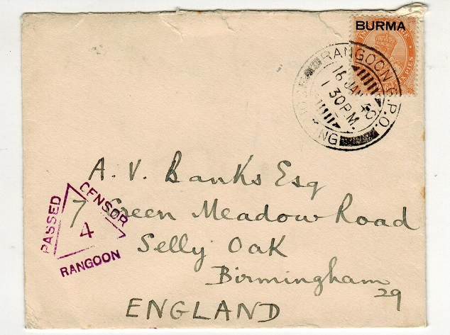 BURMA - 1940 2a6p rate censor cover to UK.