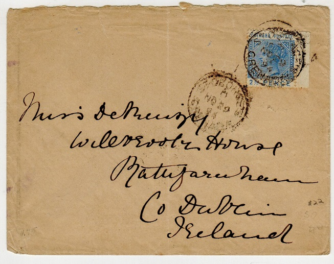 GRENADA - 1894 2 1/2d rate cover to Ireland used at ST.GEORGES.