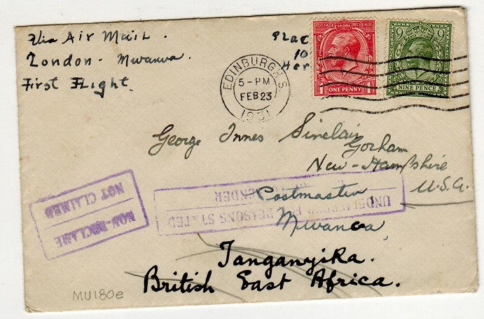 TANGANYIKA - 1931 inward first flight cover from UK with UNDELIVERED and NOT CALLED h/s