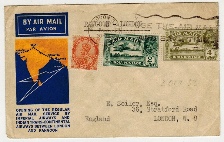 BURMA - 1933 first flight cover to UK.