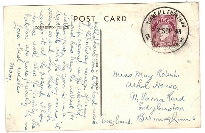 IRELAND - 1946 1 1/2d rate postcard use to UK used at TEAMP ALL FHORTH.