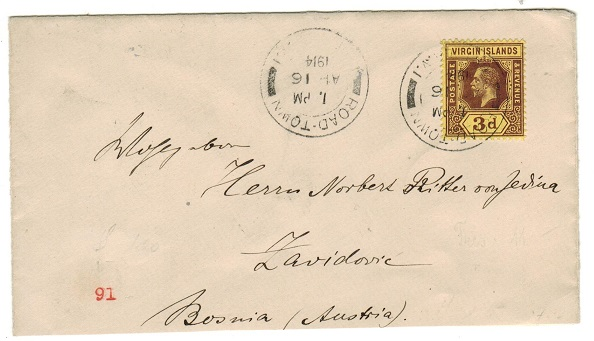 BRITISH VIRGIN ISLANDS - 1914 3d rate cover to Austria used at ROAD TOWN.