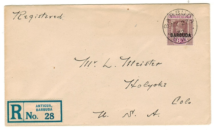 BARBUDA - 1932 6d registered rate cover to USA.