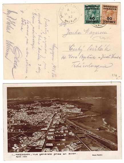 MOROCCO AGENCIES - 1932 postcard use to Czechoslovakia used at MAZAGAN.