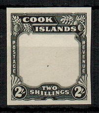 COOK ISLANDS - 1938 2/- IMPERFORATE PLATE PROOF of the frame in black.