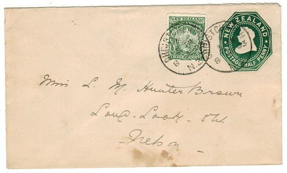NEW ZEALAND - 1900 1/2d green uprated PSE addressed locally and used at CHRISTCURCH.  H&G 4a.
