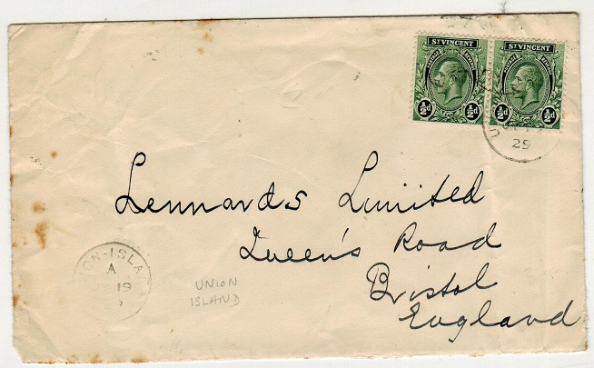 ST.VINCENT - 1929 1d rate cover to UK used at UNION ISLAND.