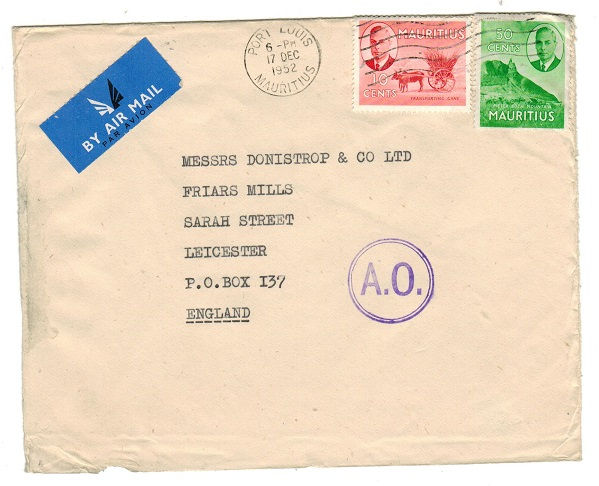 MAURITIUS - 1952 60c rate cover to UK with