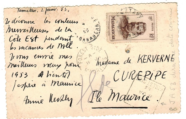 MAURITIUS - 1953 inward postcard from Madagascar with DELIVERY/FOREST SIDE h/s applied.
