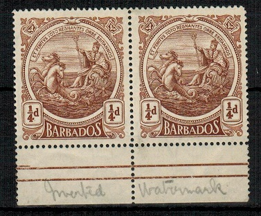 BARBADOS - 1918 1/4d sepia brown U/M pair with INVERTED WATERMARK.  SG 181w.