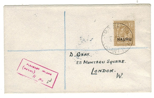 NAURU - 1923 1/- rate registered cover to UK used at PLEASANT ISLAND.