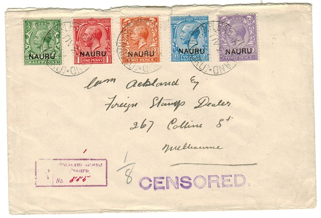 NAURU - 1917 (circa) multi franked CENSORED cover to Australia.