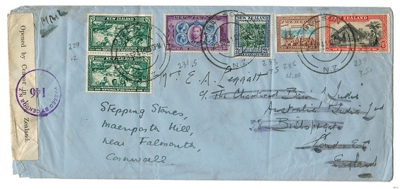 NEW ZEALAND - 1941 multi franked censor cover to UK used at NELSON.