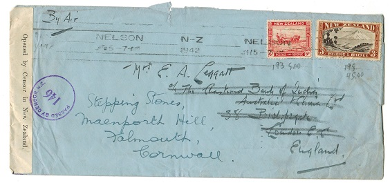NEW ZEALAND - 1942 multi franked censor cover to UK used at NELSON.