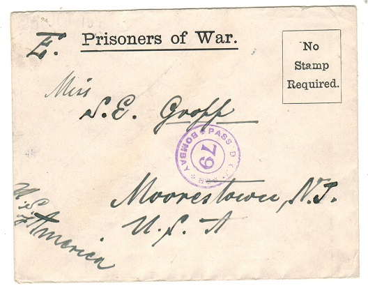 INDIA - 1917 PRISONER OF WAR censored envelope to USA from a POW inmate at Ahmednagar Camp.