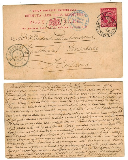 BERMUDA - 1893 1d carmine PSC to Holland used by