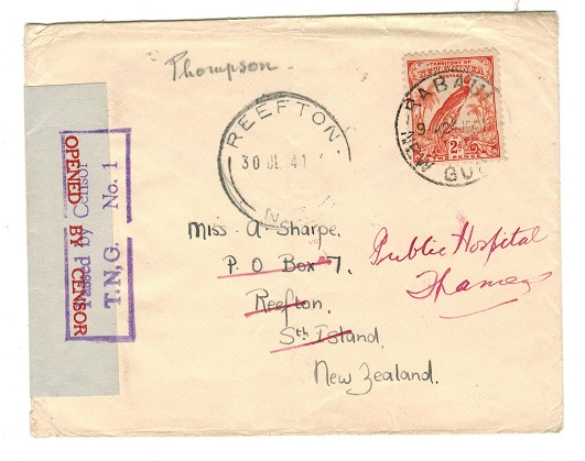 NEW GUINEA - 1941 censor cover to New Zealand with boxed