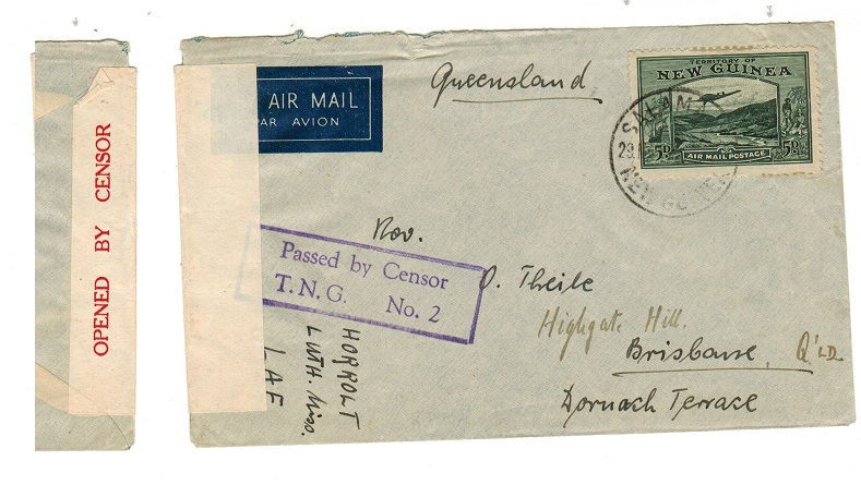 NEW GUINEA - 1940 (circa) censor cover to Australia with boxed