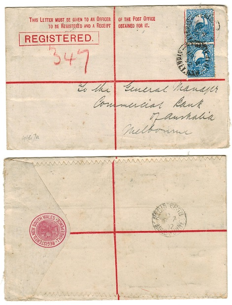 AUSTRALIA (New South Wales) - 1892 3d rose RPSE uprated locally and used at SYDNEY.  H&G 7a.