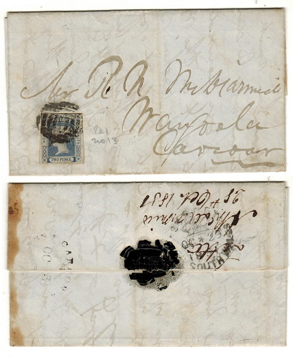 AUSTRALIA (New South Wales) - 1851 local entire from SYDNEY to CARCOAR bearing 2d imperforate.
