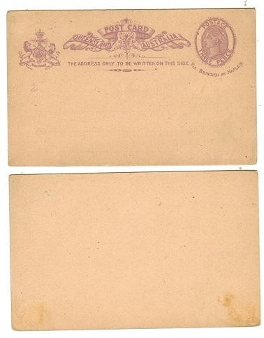 AUSTRALIA (Queensland) - 1889 3d violet PSC unused.  H&G 6.