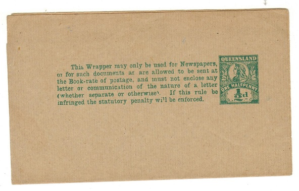 AUSTRALIA (Queensland) - 1897 1/2d green postal stationery wrapper unused.  H&G 5.