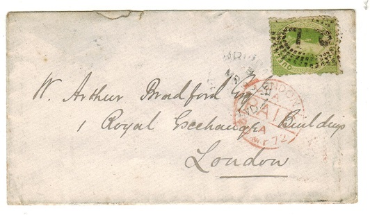 AUSTRALIA (Queensland) - 1872 6d rate cover to UK used at BRISBANE.