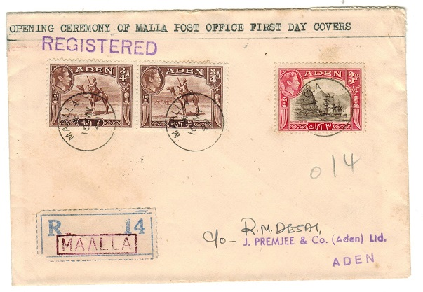 ADEN - 1949 registered local cover used at MAALLA.